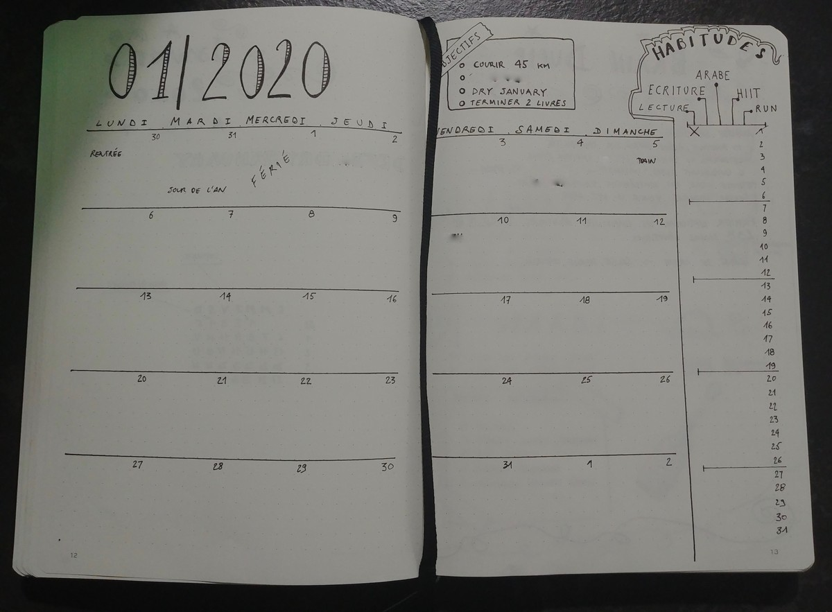 Bullet Journal : monthly